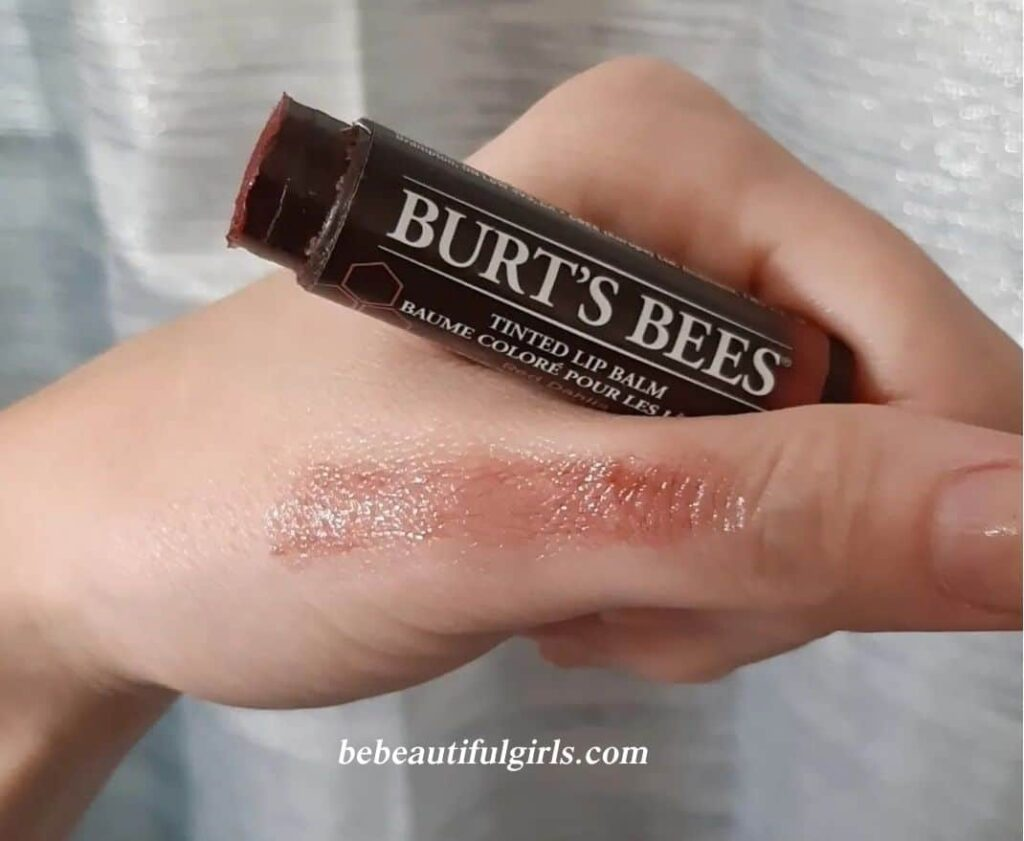 Burt's Bees Tinted Red Dahlia Lip Balm Swatch