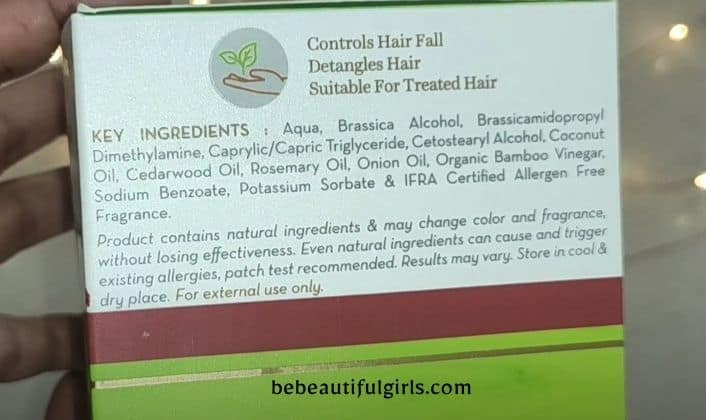 Mamaearth Onion Hair Mask ingredients